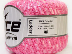 Lot of 6 Skeins Ice Yarns Trellis LADDER Hand Knitting Yarn Baby Pink