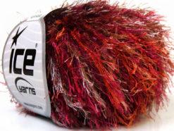 Lot of 8 Skeins Ice Yarns EYELASH COLORFUL Yarn Purple Red Brown White