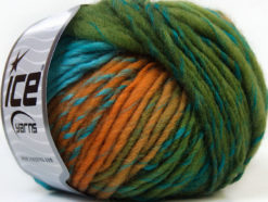 Lot of 8 Skeins Ice Yarns VIVID WOOL (60% Wool) Yarn Green Turquoise Gold Navy Purple