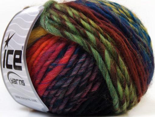 Lot of 8 Skeins Ice Yarns VIVID WOOL (60% Wool) Yarn Green Shades Blue Fuchsia Orange Black