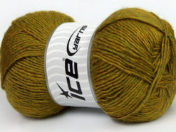Lot of 4 x 100gr Skeins Ice Yarns MIRAGE (50% Wool) Yarn Olive Green Melange