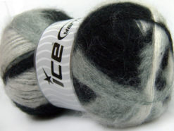 Lot of 4 x 100gr Skeins Ice Yarns BERMUDA MOHAIR (70% Mohair) Yarn Black Grey White