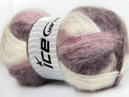 Lot of 4 x 100gr Skeins Ice Yarns BERMUDA MOHAIR (70% Mohair) Yarn Purple Lilac White