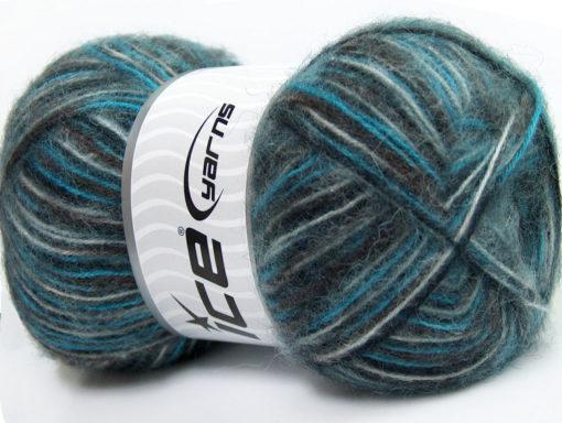 Lot of 4 x 100gr Skeins Ice Yarns ANGORA SUPREME COLOR (70% Angora) Yarn Black Grey Brown Blue White