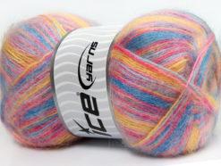 Lot of 4 x 100gr Skeins Ice Yarns ANGORA SUPREME COLOR (70% Angora) Yarn Light Blue Pink Yellow