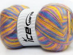 Lot of 4 x 100gr Skeins Ice Yarns ANGORA SUPREME COLOR (70% Angora) Yarn Blue Pink Yellow