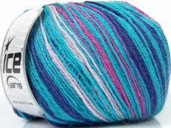 Lot of 4 x 100gr Skeins Ice Yarns ALPACA FINE MAGIC (25% Alpaca 35% Wool) Yarn Turquoise Lilac Fuchsia Blue