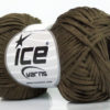 Lot of 8 Skeins Ice Yarns FETTUCCIA FINE Hand Knitting Yarn Dark Khaki
