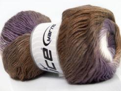 Lot of 4 x 100gr Skeins Ice Yarns PRIMADONNA (50% Wool) Yarn Brown Shades Purple White