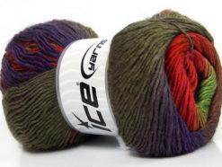 Lot of 4 x 100gr Skeins Ice Yarns PRIMADONNA (50% Wool) Yarn Red Green Purple Brown