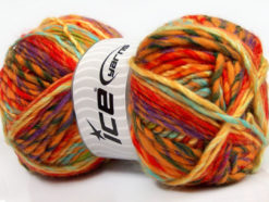 Lot of 4 x 100gr Skeins Ice Yarns MYSTIQUE (25% Wool) Yarn Orange Gold Purple Yellow Mint Green