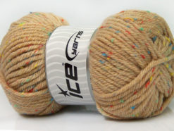 Lot of 4 x 100gr Skeins Ice Yarns WOOL TWEED SUPERBULKY (25% Wool 3% Viscose) Yarn Latte