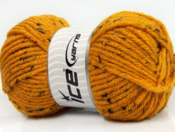 Lot of 4 x 100gr Skeins Ice Yarns WOOL TWEED SUPERBULKY (25% Wool 3% Viscose) Yarn Gold