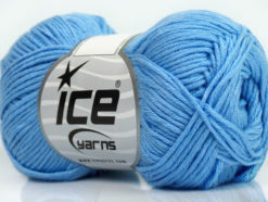 Lot of 8 Skeins Ice Yarns COTTON BAMBOO (50% Bamboo 50% Cotton) Yarn Light Blue