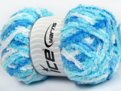 Lot of 4 x 100gr Skeins Ice Yarns PUFFY (100% MicroFiber) Yarn Blue Turquoise White