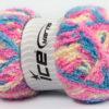 Lot of 4 x 100gr Skeins Ice Yarns PUFFY (100% MicroFiber) Yarn Pink Blue Cream