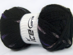 Lot of 4 x 100gr Skeins Ice Yarns TUBEWOOL BULKY SPOTS (11% Wool) Yarn Black Purple Rose Pink