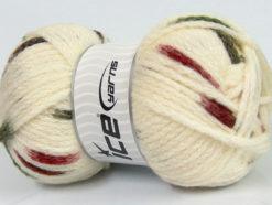 Lot of 4 x 100gr Skeins Ice Yarns TUBEWOOL BULKY SPOTS (11% Wool) Yarn Cream Burgundy Khaki