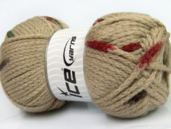 Lot of 4 x 100gr Skeins Ice Yarns TUBEWOOL BULKY SPOTS (11% Wool) Yarn Camel Brown Cream