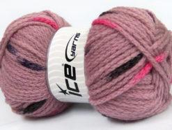 Lot of 4 x 100gr Skeins Ice Yarns TUBEWOOL BULKY SPOTS (11% Wool) Yarn Rose Pink Black Brown