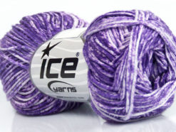 Lot of 8 Skeins Ice Yarns JEANS (100% Cotton) Hand Knitting Yarn Purple White