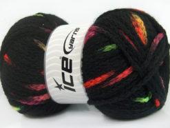 Lot of 4 x 100gr Skeins Ice Yarns TUBEWOOL BULKY SPOTS (11% Wool) Yarn Black Neon Colors