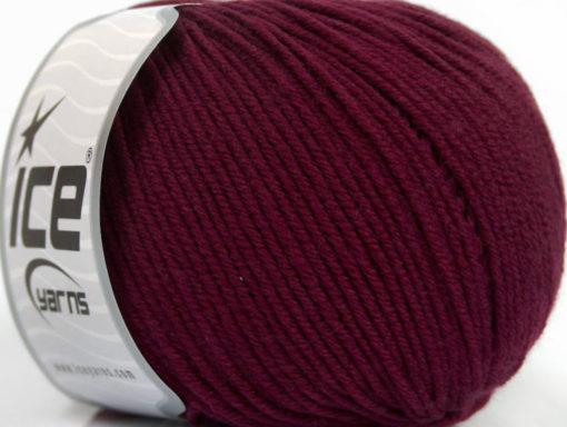 Lot of 4 Skeins Ice Yarns SUPERWASH MERINO EXTRAFINE (100% Superwash Extrafine Merino Wool) Yarn Dark Burgundy