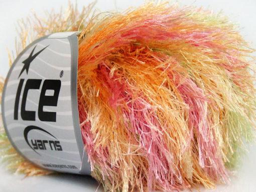 Lot of 8 Skeins Ice Yarns EYELASH COLORFUL Yarn Orange Green Pink Yellow