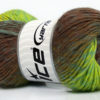Lot of 8 Skeins Ice Yarns MARVELOUS PURE WOOL (100% Wool) Yarn Brown Shades Neon Green Turquoise