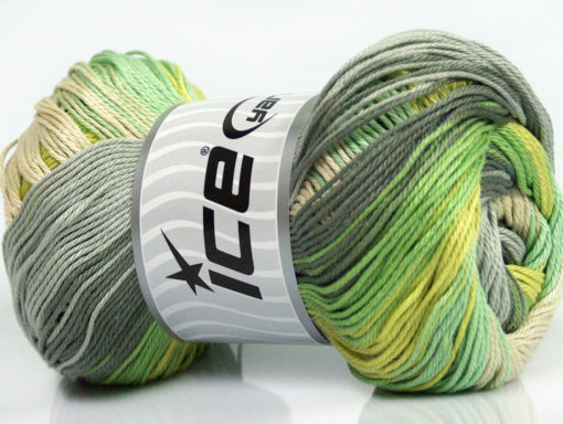 Lot of 4 x 100gr Skeins Ice Yarns CAMILLA COTTON MAGIC (100% Mercerized Cotton) Yarn Green Shades Grey Shades Beige