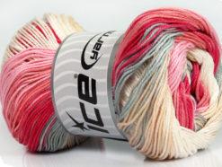 Lot of 4 x 100gr Skeins Ice Yarns CAMILLA COTTON MAGIC (100% Mercerized Cotton) Yarn Pink Shades Grey Cream