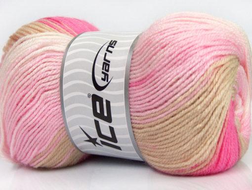 Lot of 4 x 100gr Skeins Ice Yarns MAGIC DK Yarn Beige Pink Shades