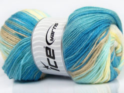 Lot of 4 x 100gr Skeins Ice Yarns MAGIC DK Yarn Blue Shades Beige Yellow White