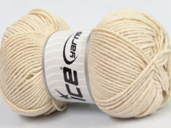 Lot of 4 x 100gr Skeins Ice Yarns LORENA WORSTED (55% Cotton) Yarn Light Beige