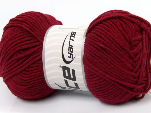 Lot of 4 x 100gr Skeins Ice Yarns LORENA WORSTED (55% Cotton) Yarn Burgundy