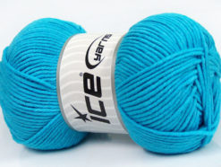 Lot of 4 x 100gr Skeins Ice Yarns LORENA WORSTED (55% Cotton) Yarn Turquoise