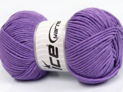 Lot of 4 x 100gr Skeins Ice Yarns LORENA WORSTED (55% Cotton) Yarn Lilac