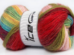 Lot of 4 x 100gr Skeins Ice Yarns MADONNA (40% Wool 30% Mohair) Yarn Burgundy Red Green Pink Yellow Blue