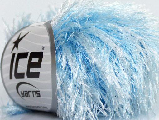 Lot of 8 Skeins Ice Yarns EYELASH COLORFUL Hand Knitting Yarn Blue White