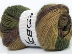 Lot of 4 x 100gr Skeins Ice Yarns MADONNA (40% Wool 30% Mohair) Yarn Green shades Brown Shades