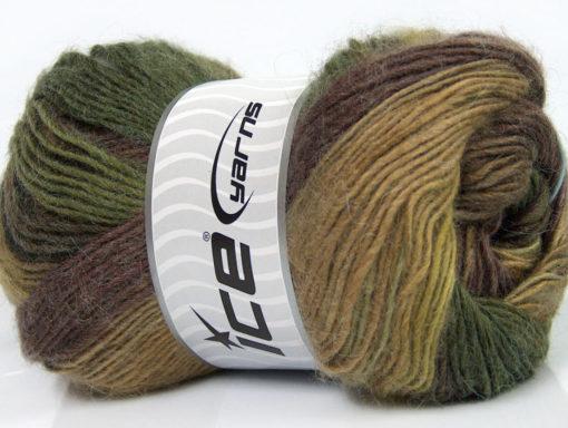 Lot of 4 x 100gr Skeins Ice Yarns MADONNA (40% Wool 30% Mohair) Yarn Green shades Brown Shades