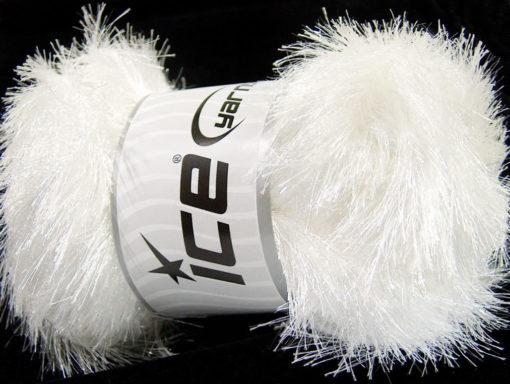 Lot of 4 x 100gr Skeins Ice Yarns EYELASH GLITZ Hand Knitting Yarn White
