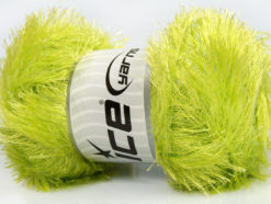 Lot of 4 x 100gr Skeins Ice Yarns EYELASH GLITZ Hand Knitting Yarn Light Green