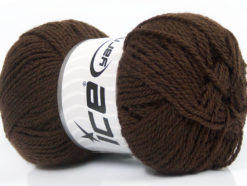 Lot of 8 Skeins Ice Yarns BABY WOOL (40% Wool) Hand Knitting Yarn Dark Brown