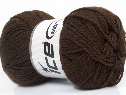 Lot of 8 Skeins Ice Yarns BABY WOOL (40% Wool) Hand Knitting Yarn Dark Brown