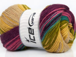 Lot of 4 x 100gr Skeins Ice Yarns FAVORITE MAGIC Yarn Purple Pink Green Turquoise Beige