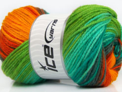Lot of 4 x 100gr Skeins Ice Yarns FAVORITE MAGIC Yarn Green Turquoise Grey Orange Yellow