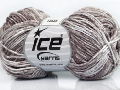 Lot of 8 Skeins Ice Yarns JEANS (100% Cotton) Hand Knitting Yarn Camel White