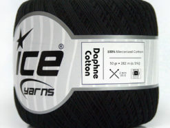 Lot of 6 Skeins Ice Yarns DAPHNE COTTON (100% Mercerized Cotton) Yarn Black
