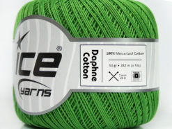 Lot of 6 Skeins Ice Yarns DAPHNE COTTON (100% Mercerized Cotton) Yarn Green